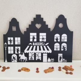 Houten bord 'Huizen met pietjes en sint', 40 x 60 cm