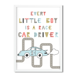 Postkaart / Interieurkaart 'Every little boy is a race car driver'