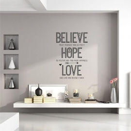 Muursticker 'Believe, Hope and Love'