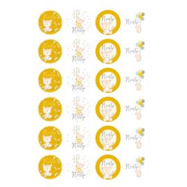 Etiket 'Teddybeertjes' - okergeel -24 stuks