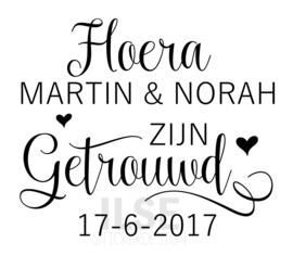 Label  Hoera getrouwd - met eigen namen