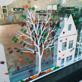 Uitbreidingsset stickers Herfstblaadjes in 3 kleuren, HERBRUIKBAAR