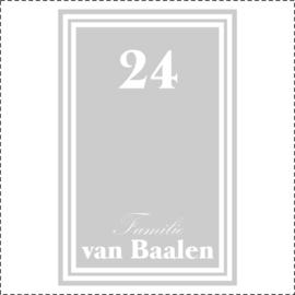 Glasfoliesticker met huisnummer en familienaam - klassiek