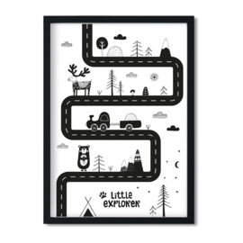 Poster 'Little Explorer met autoweg'