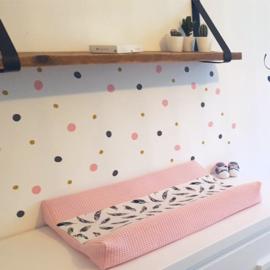 Muursticker 'Dots - tricolor' - babyroze, donkergrijs en oker