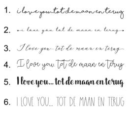 Muurtekst 'I love you tot de maan en terug' - 55 cm