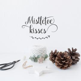 Tekststicker 'Mistletoe kisses' 18 x 28 cm