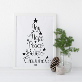 Poster 'Joy, Hope, Peace' - zwart/wit- A4