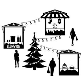 Uitbreidingsset stickers Kerstmarkt