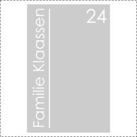 Glasfoliesticker met huisnummer en familienaam - modern