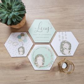 Houten Geboortehexagons 'Egels', set van 4 stuks