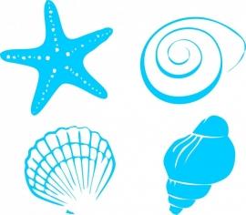 Afbeeldingstickers set van vier schelpen