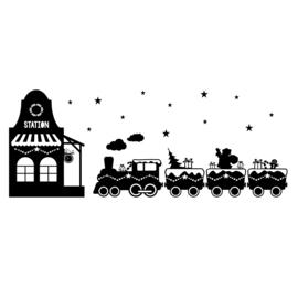 Uitbreidingsset stickers Kersttrein met station