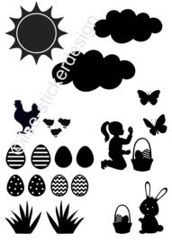 Uitbreidingsset stickers Pasen, HERBRUIKBAAR