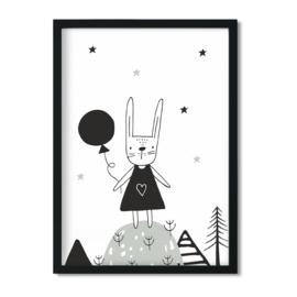Poster 'Konijn met ballon'