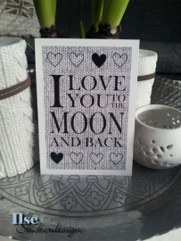 Postkaart / Interieurkaart 'I love you to the moon'