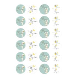 Etiket 'Konijnen jongens' - pastel turquoise-24 stuks