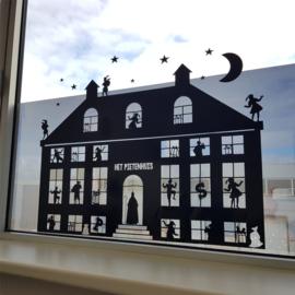 Statische raamsticker 'Pietenhuis XL'- HERBRUIKBAAR