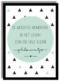 Poster 'De mooiste momenten...' 21 X 29,7 cm A4 - VINTAGE GROEN