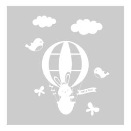 Raamsticker Paashaas in luchtballon, HERBRUIKBAAR