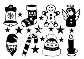 Statische raamsticker 'Kerstfiguurtjes 8 stuks'- HERBRUIKBAAR