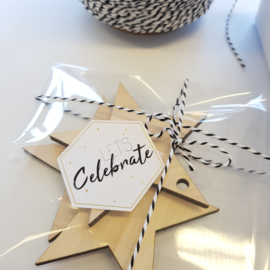 Etiket Lets Celebrate - zeshoek - 10 stuks