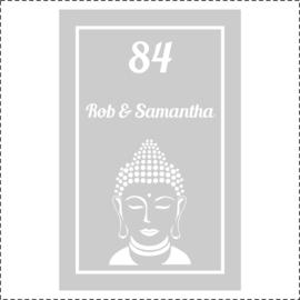 Glasfoliesticker met Boeddha en namen / huisnummer