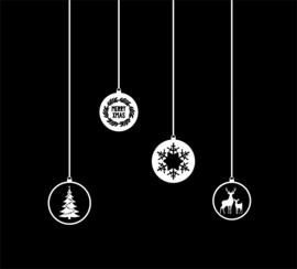 Statische raamsticker 'Kerstballen- 4 stuks'- HERBRUIKBAAR