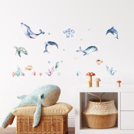 Muurstickers 'Onderwaterdieren'- klein