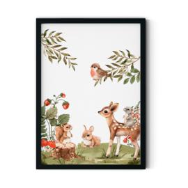 Poster 'Bosdieren bij elkaar'