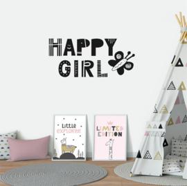 Muursticker 'Happy Girl'