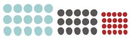Muursticker 'Dots - tricolor' - zeeblauw, donkergrijs en dieprood