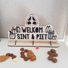 Houten bordje 'Welkom Sint en Piet', 19 x 31 cm