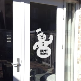 Statische raamsticker 'Happy Holidays - sneeuwpop'- HERBRUIKBAAR