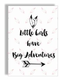 Postkaart / Interieurkaart 'Little girls have big adventures'