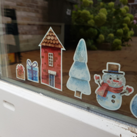 Raamsticker 'Kersthuisjes', kleine set  HERBRUIKBAAR