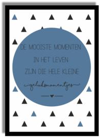 Poster 'De mooiste momenten...' 21 X 29,7 cm A4 - BLAUW