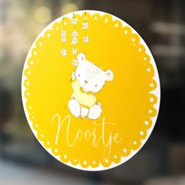 Geboortesticker / Naamsticker Teddybeertje - HERBRUIKBAAR