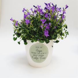Label full color 'Bedankt dat ik bij u mocht groeien' met bloementjes- rond