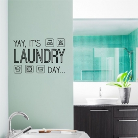 Muursticker 'Yay, it's laundry day'