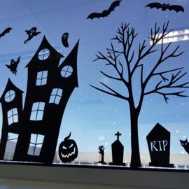 Raamsticker Spookhuis Halloween COMBI-DEAL, HERBRUIKBAAR