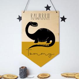 Houten banner / tekstbord 'Dino' - met eigen naam