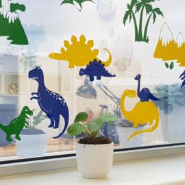 Raamsticker Dino's - drie kleuren HERBRUIKBAAR