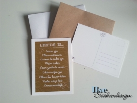 Postkaart / Interieurkaart 'Liefde is'