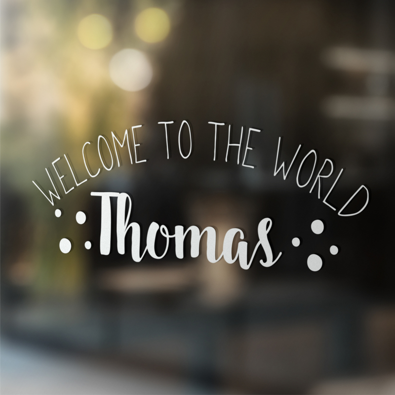 Geboortesticker 'Welcome to the world'
