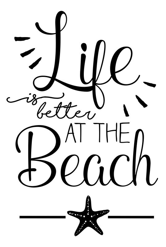 Tekststicker 'Life is better at the beach' - small