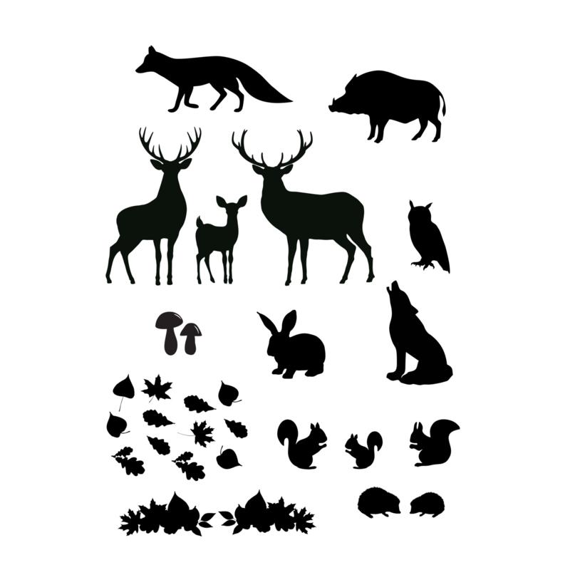 Uitbreidingsset stickers Bosdieren, HERBRUIKBAAR