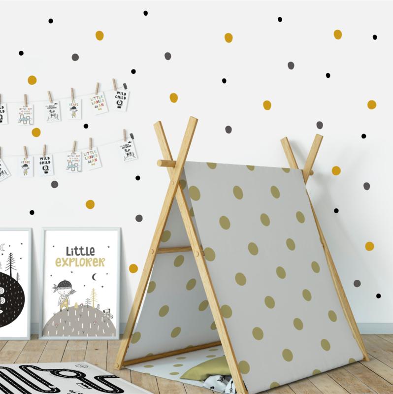 Muursticker 'Dots - tricolor' - oker, zwart en grijs