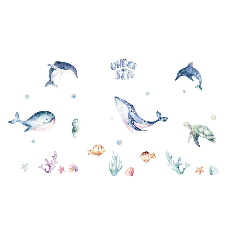 Raamsticker 'Onderwaterdieren', HERBRUIKBAAR