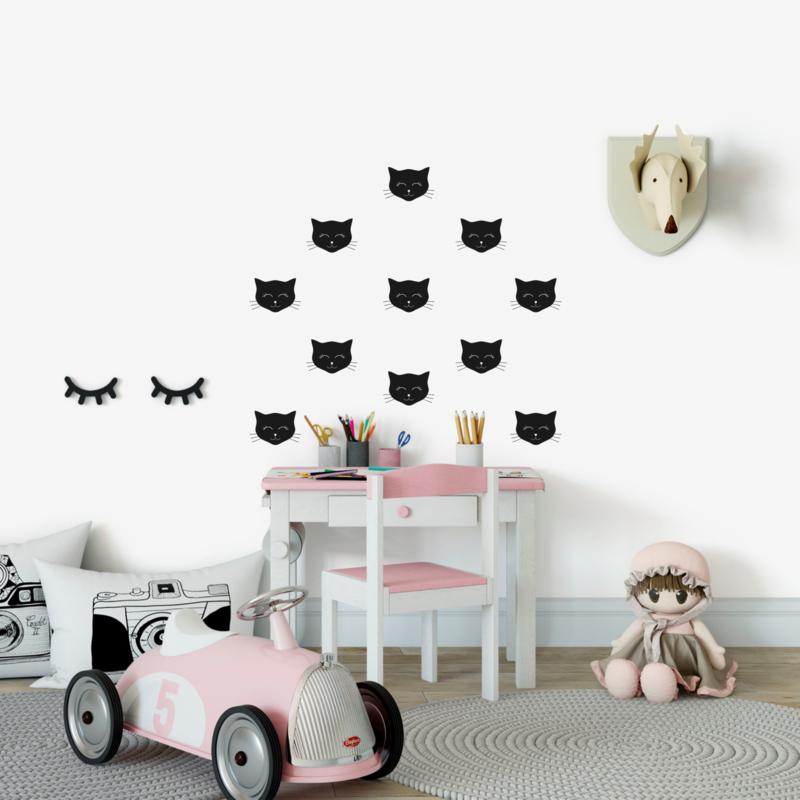 Muursticker 'Kattenkopjes ' - 16 stuks